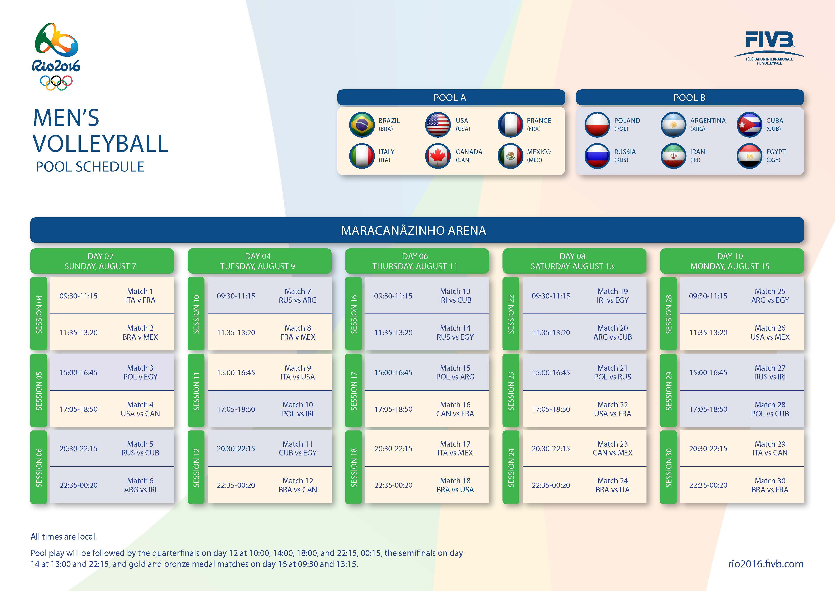 Olympics Volleyball Schedule