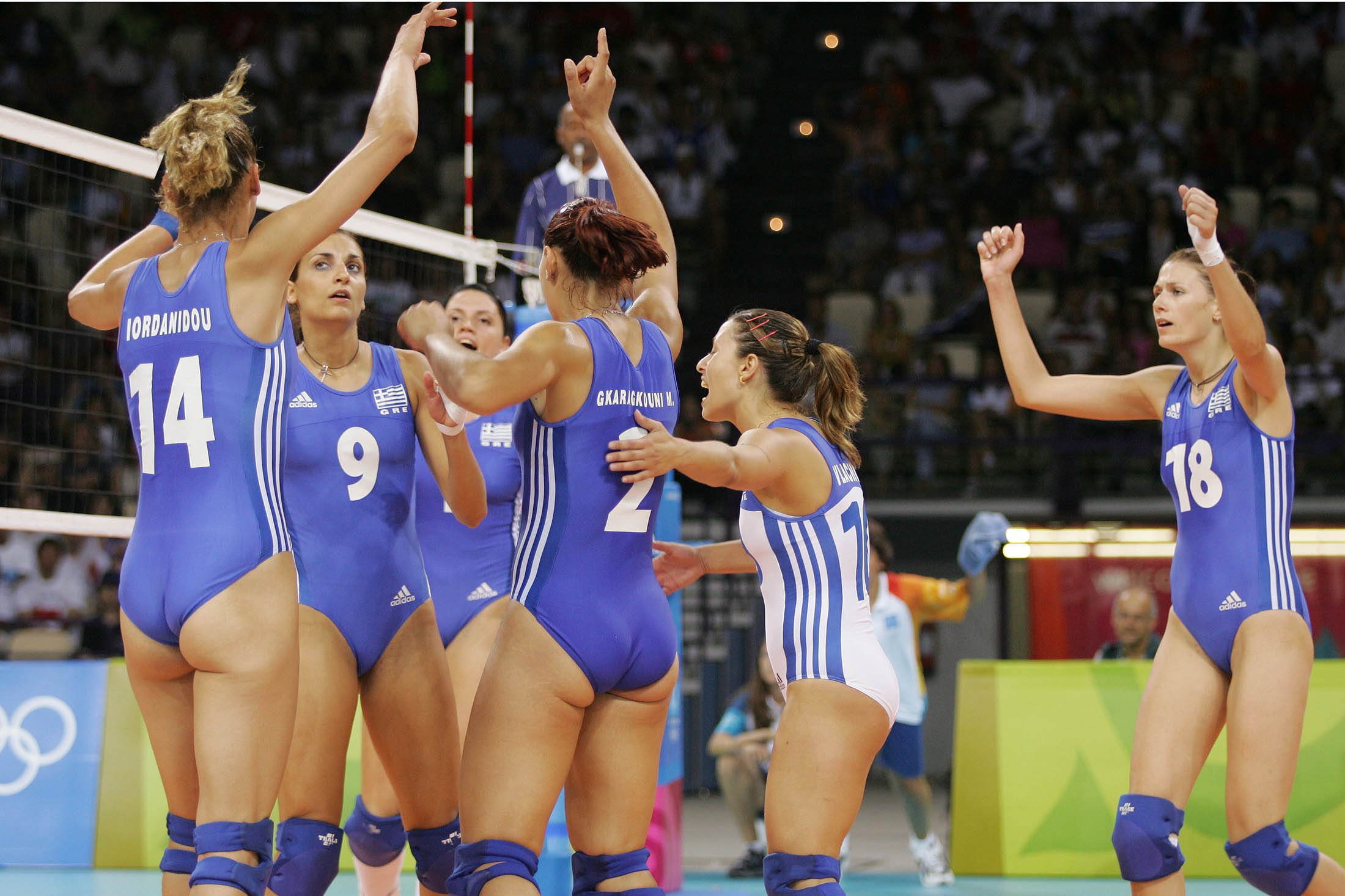 Greece share the success of a pointWomen In Volleyball Shorts