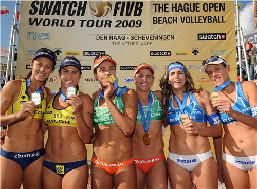 The Hague Open Beach Volleyball 2009 podium (left to right) featured Talita Antunes, Maria Antonelli, Larissa Franca, Juliana Felisberta Silva, Angela Vieira and Vivian Cunha