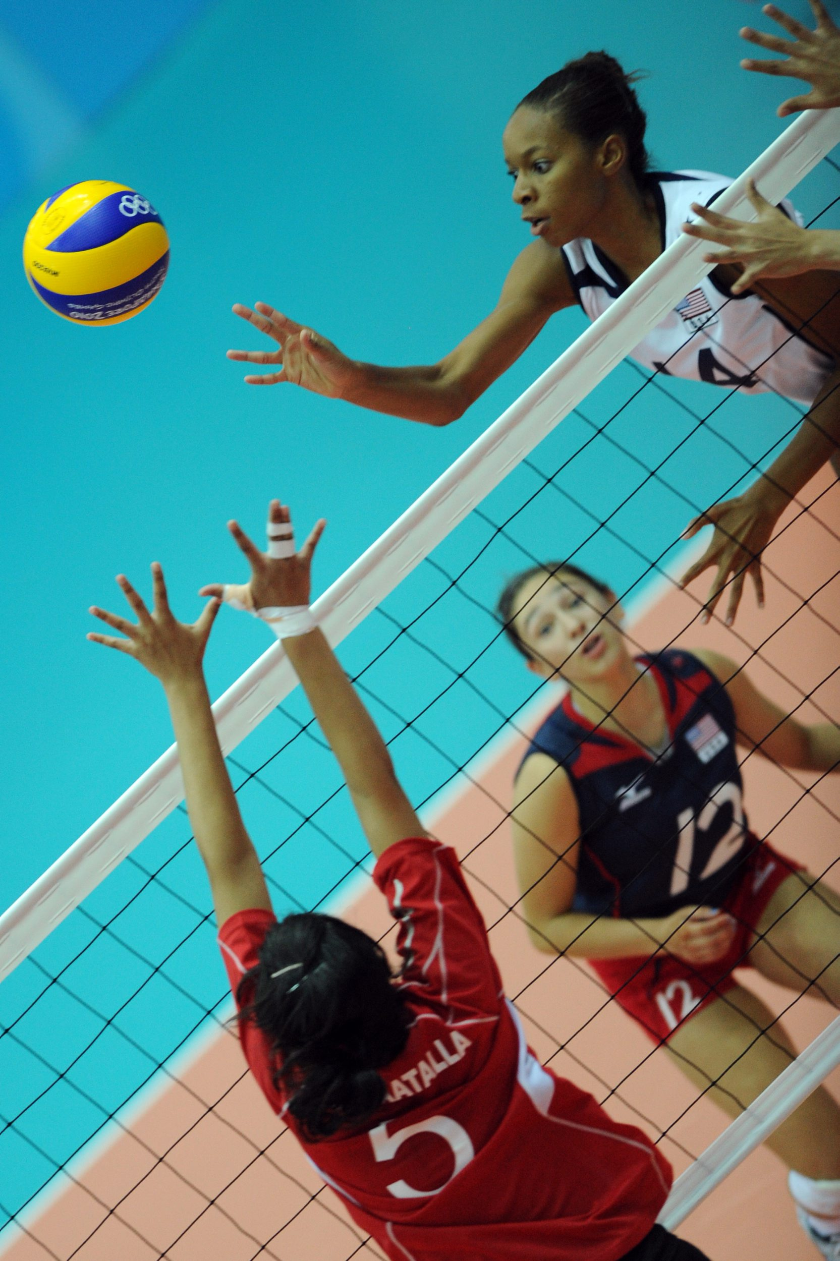 Crystal Graff tips the ball over the egyptian block