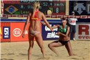 Priscilla (BRA) saves a ball during the match against Fabjan sisters (SLO)