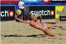 Simona Fabjan (SLO) defends the ball during the match agains the brazilian team Vieira-Lese Lima
