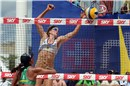 USA\'s Kerri Walsh blocks at the net in her and Misty-May Treanor\'s return to the tour.