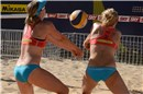 Both Dutch players, Meppelink (left) and Wesselink go for the Mikasa
