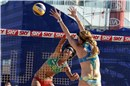 Nice attack of Ying Huang (CHN) against the block of Walsh (USA)