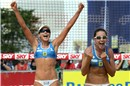 After defeating Vivian/Taiana (BRA) Brazilians Maria Clara and Carol celebrates they are still alive in the competition