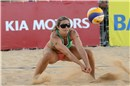 May-Treanor (USA) receives the Mikasa in the match against Brazil\'s Talita/Maria Elisa