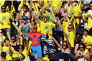 The stands were packed, but the Spiderman found a seat to cheer for Larissa/Juliana (BRA)