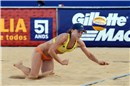 Hanson (USA) tries to save the Mikasa between match against Walsh/May-Treanor (USA)