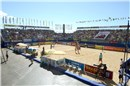 4,500 beach volleyball fans packed the arena for either bronze and gold medal matches