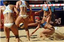All-American bronze medal match: Hanson/Fendrick (white top) and Ross/Kessy (blue top) keep the eyes on the Mikasa that is falling down on the sand