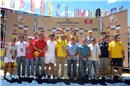Award ceremony: players on the podium and sponsors, authorities (Agnelo Queiroz, Governor of the Federal District wearing yellow in the middle), FIVB Technical Supervisor Jeff Brehaut (wearing yellow in the right)