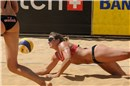 Twice Olympic gold medallist, May-Treanor (USA) digs for the Mikasa