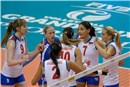 Serbia celebrate the 2-1 in sets