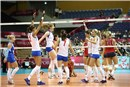 Serbia celebrate their victory over USA