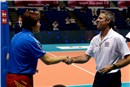 Olympic champions Head coach Lang Ping and Head coach Karch Kiraly shake hands before the match China - USA