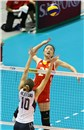 China\'s Yunwen Ma spikes against USA\'s block