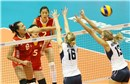 China\'s Chunlei Zeng spikes against USA\'s block