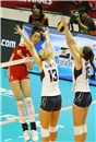 China\'s Ting Zhu spikes against USA\'s block