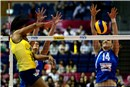 Nadja Ninkovic of Sebia try for a block against Bra second set fifth set Fernanda Rodrigues