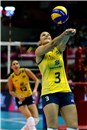 Danielle Lins bumps the Mikasa ball in the second set of the FIVB World Grand Prix match against Serbia