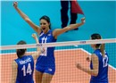 Nadja Ninkovic, Stefana Veljkovic, Jelena Nikolic celebrate after a great rally