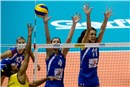 Fernanda Rodrigues tip the ball over double block Bojana Zivkovic, Stefana Veljkovic
