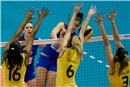 A triple block by the Brazil\'s team stops Tijana Malesevic
