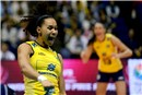 Juciely Cristina Barreto celebrate after great block