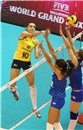 Brazil\'s Guimaraes Gabriela Braga spikes against blocks