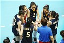 China team form a circle during a time-out