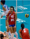 Milena Rasic celebrate after great block
