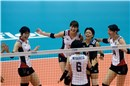 Japan celebrate the third set win 2-1