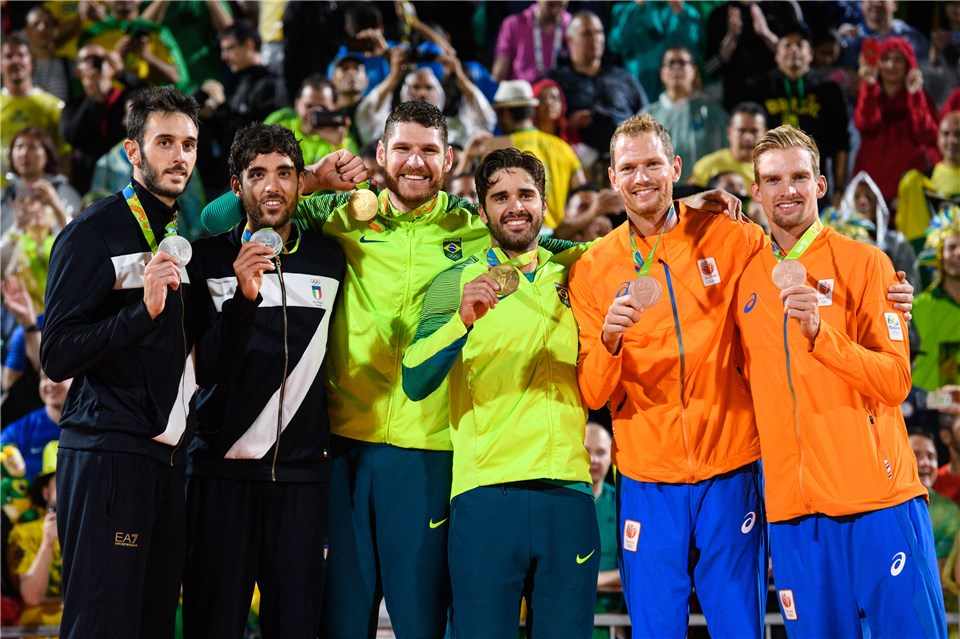 Rio 2016 men's beach volleyball medallists