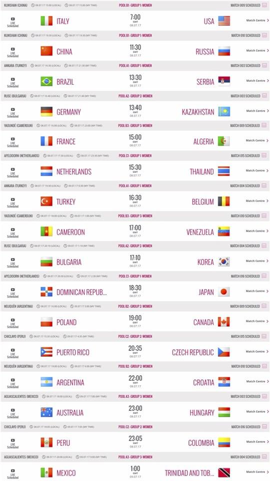 World Grand Prix – Match Schedule