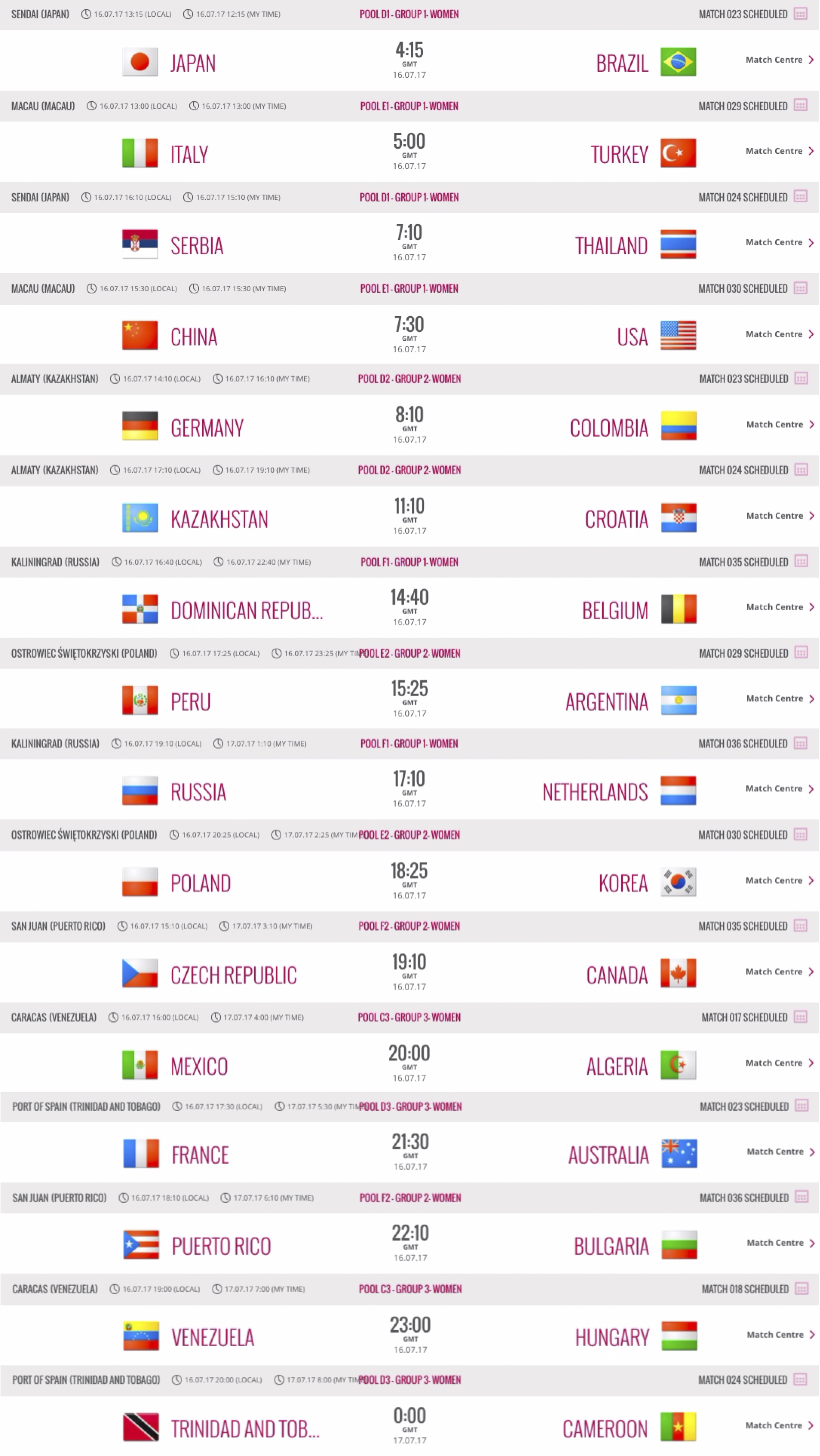 World Grand Prix – Match Schedule