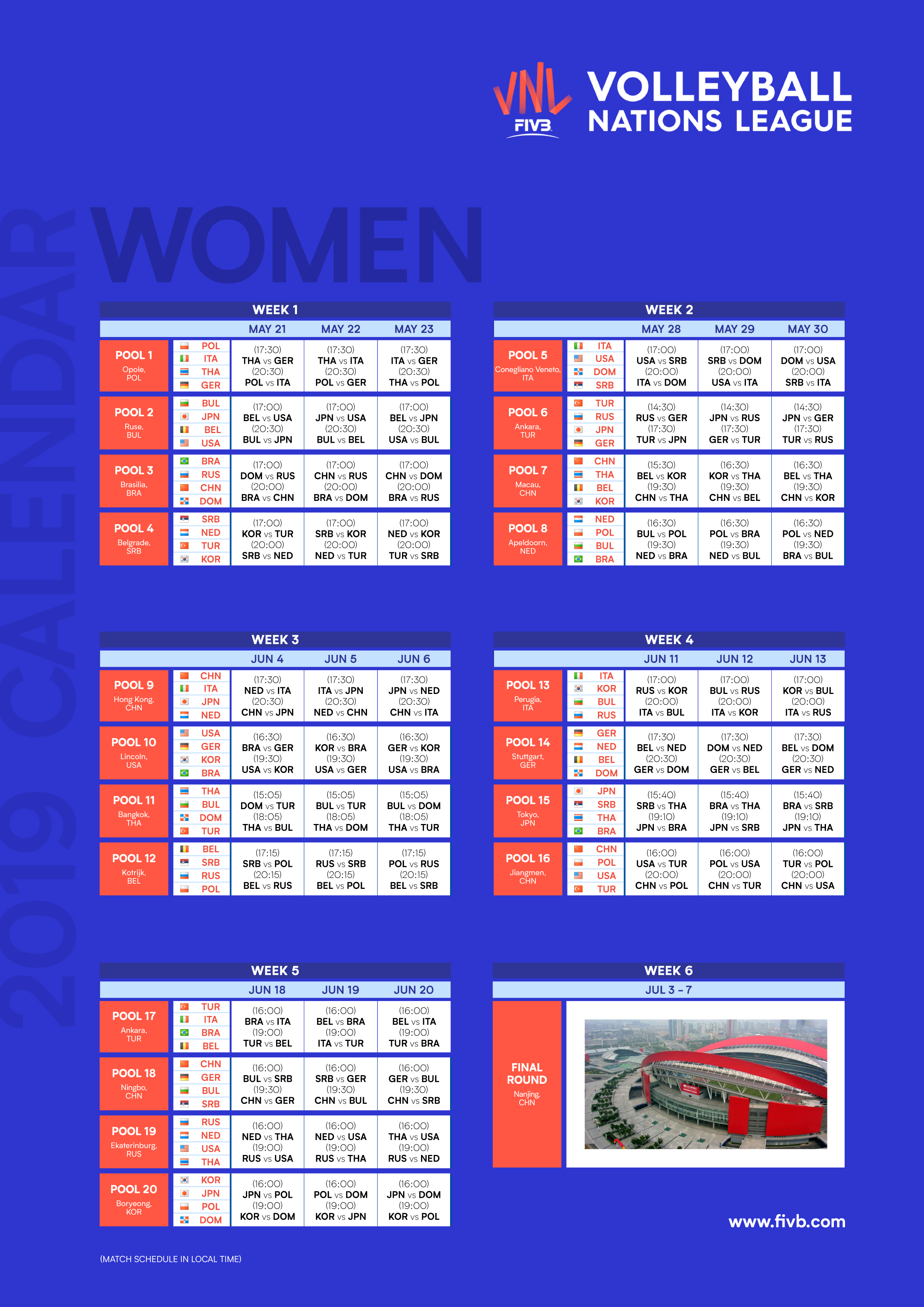 Calendario Final Six Volley.News 2019 Vnl Opens With Bang Schedule Reveals
