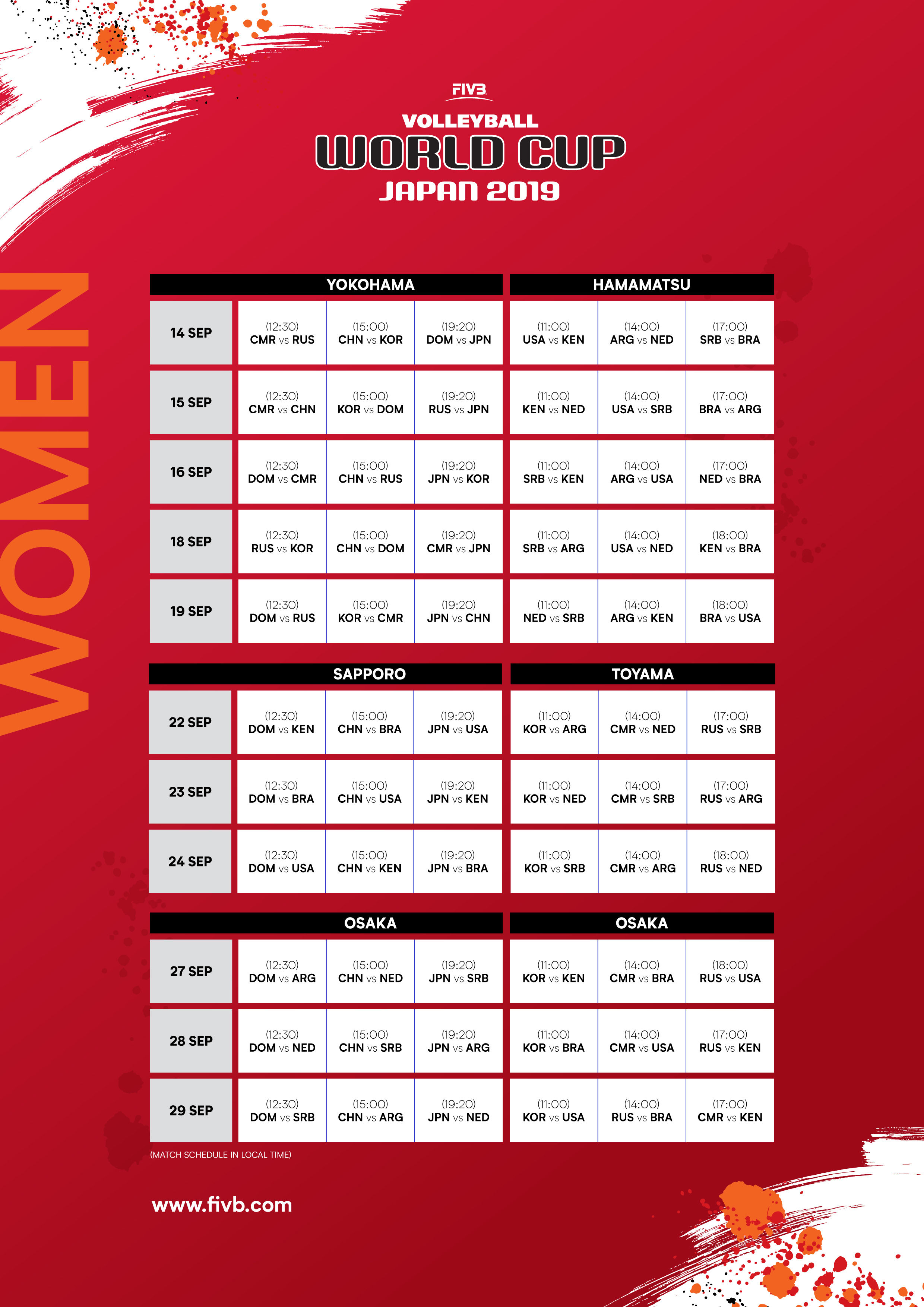 News - 2019 FIVB World Cup match schedule confirmed