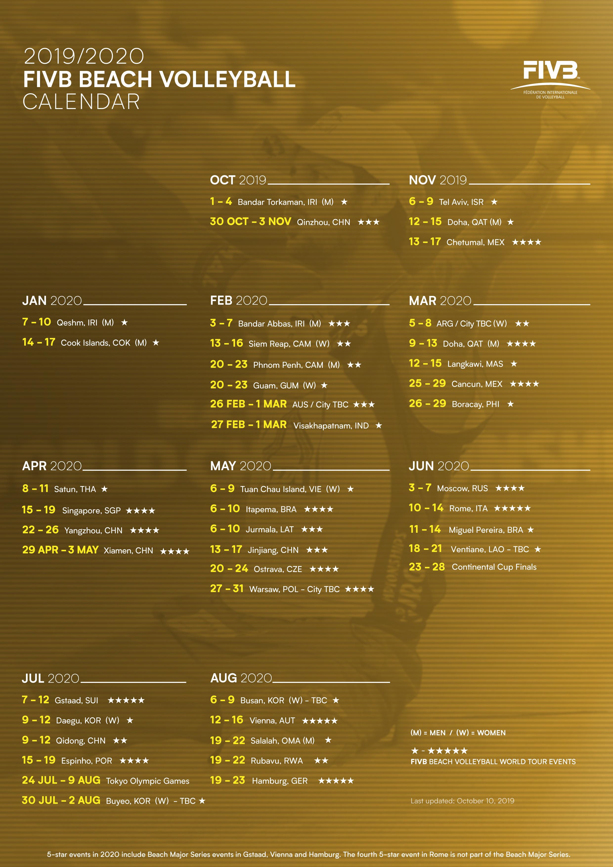 News - 2019-2020 FIVB Beach Volleyball World Tour Calendar announced for Olympic season