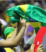 Brazil fans cheer on their team as they fought out a dramatic battle with the USA