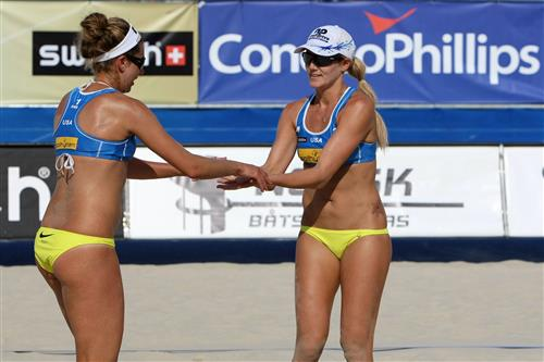 SWATCH FIVB World Championships - Top statistical leaders are April Ross (left, serving speed) and Jen Kessy (hitting percentage) of the United States