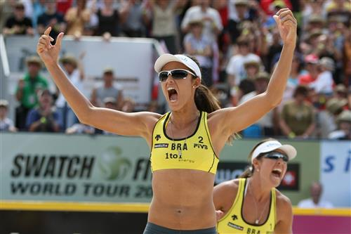 Talita Antunes (left) and Maria Antonelli celebrate a gold medal win at the 1to1energy Grand Slam Saturday over Brazilian rivals Juliana Felisberta Silva and Larissa Franca