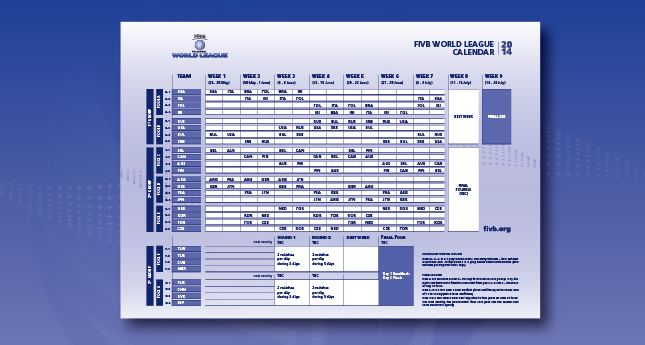 2014 World League page open with dynamic calendar available for