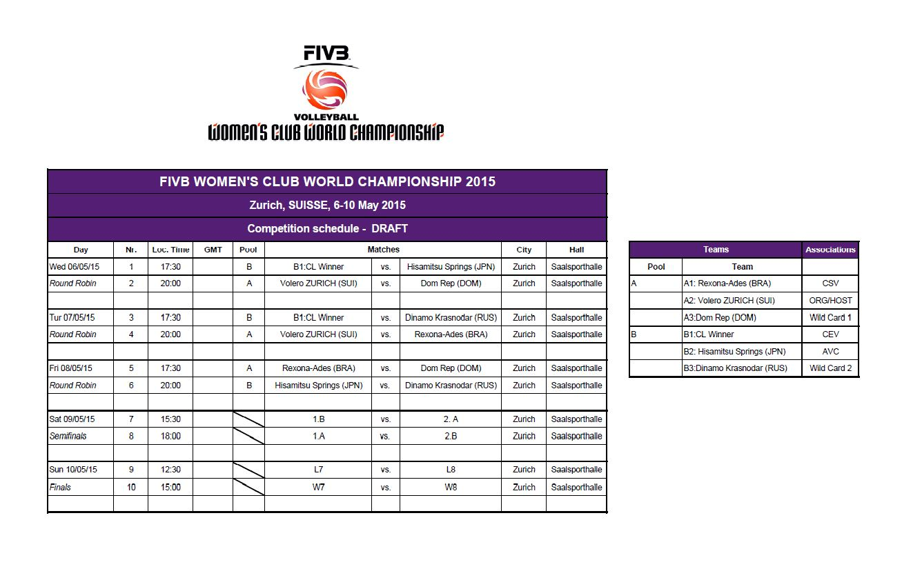 FIVB Volleyball Women's Club World Championship 2015 match schedule